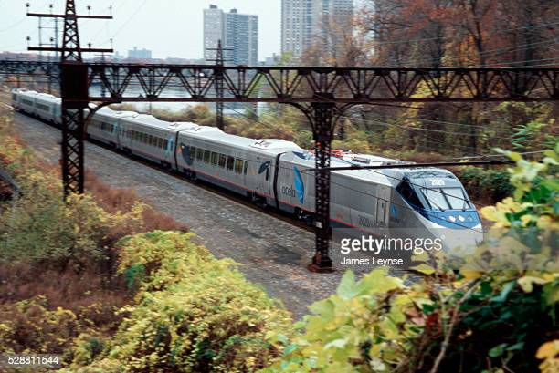 The Acela express train goes through Pelham on its trial run from Washington DC to Boston