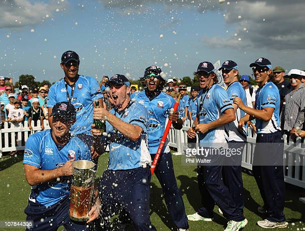 The Aces celebrate their win following the final of the HRV Cup Twenty20 match between the Auckland Aces and the Central Stags at Colin Maiden Park...