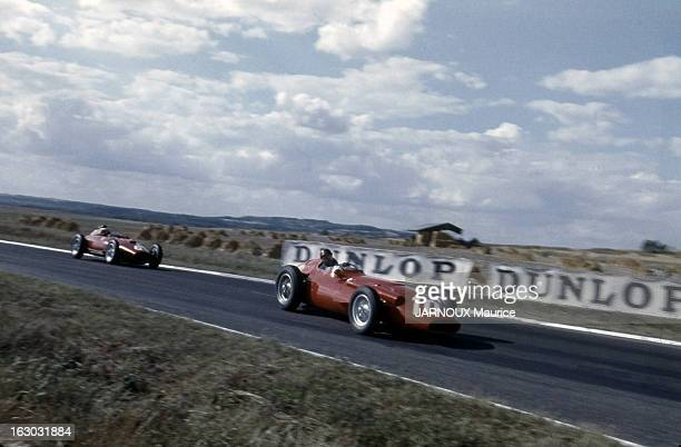 The Acf Automobile Grand Prix Of France In Reims In 1957 Le coureur argentin Juan Manuel FANGIO au volant de la Ferrari n° 10 lors du Grand Prix de...