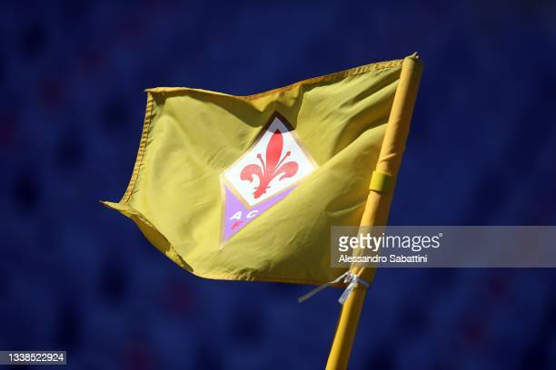 The ACF Fiorentina flag is seen during the Women Serie A match between ACF Fiorentina and Juventus at Artemio Franchi on September 05, 2021 in...