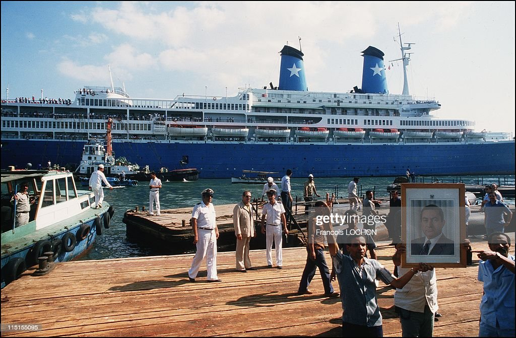 The Achille Lauro Liner Leaves Port Said Harbor, After Being Released From Terrorists Led By Palestinian Militant Abu Abbas, Egypt In October, 1985. : News Photo