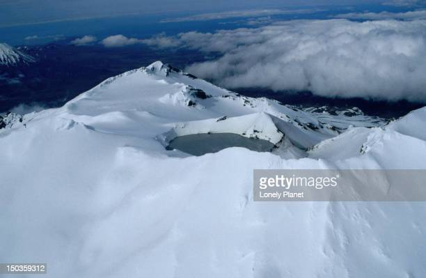 The acidic crater lake at the top of Mt Ruapehu on the North Island of New Zealand. The volcano has erupted about 50 times since 1861.