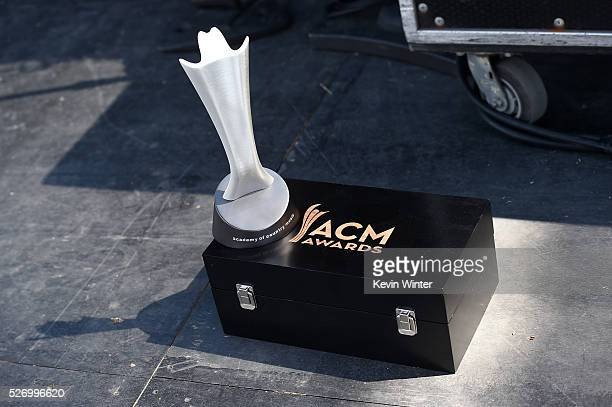 The ACM award for Festival of the Year awarded to Stagecoach is seen onstage during 2016 Stagecoach California's Country Music Festival at Empire...