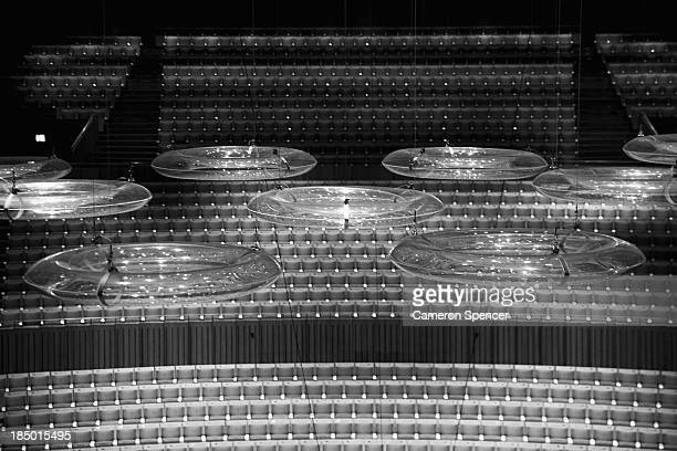 The acoustic rings called the 'clouds' float above the stage in the concert hall at the Sydney Opera House on September 20 2013 in Sydney Australia...