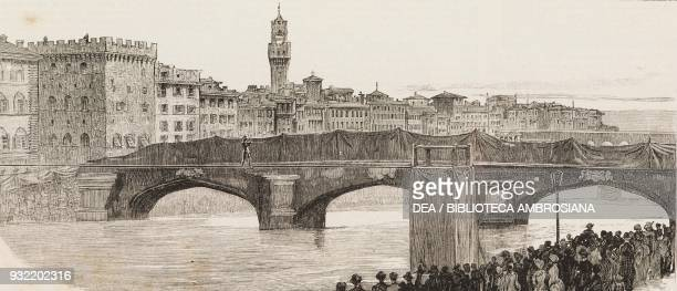 The acrobat Charles Blondin crossing the Arno on a tightrope for the benefit of the sufferers from the cholera Florence Italy illustration from the...