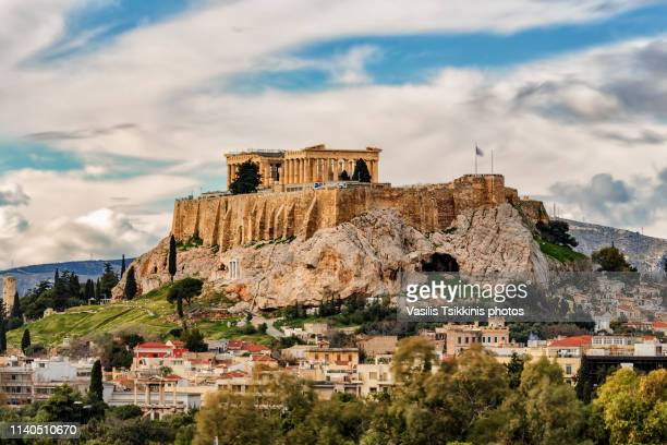 the acropolis and plaka - old ruin stock photos and pictures