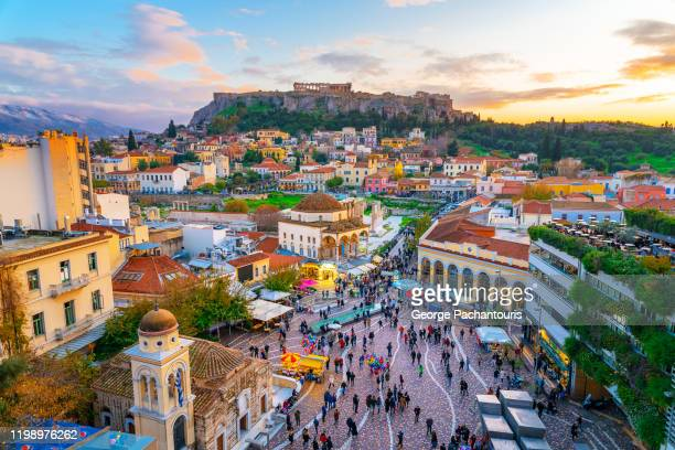 the acropolis and the old town of athens, greece - athens greece stock pictures, royalty-free photos & images