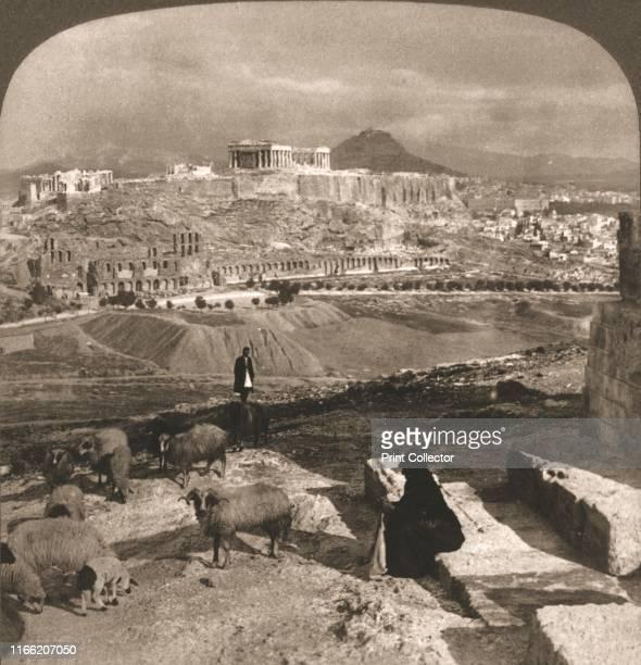 "The Acropolis, Athens, Greece', 1902. From ""Underwood and Underwood Publishers, New York-London-Toroto Canada-Ottawa Kansas. "". Artist Works and Sun..."