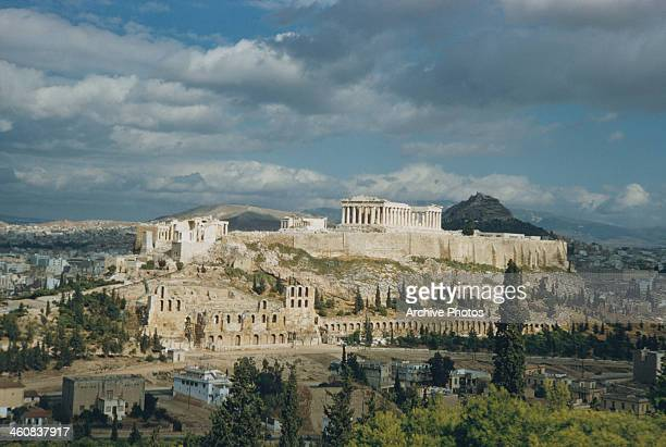 The Acropolis in Athens Greece with the Parthenon in the centre and the Odeon of Herodes Atticus at the foot circa 1960