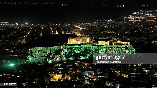 The Acropolis of Athens, Greece during Earth Hour