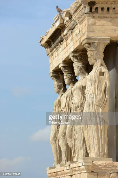 The Acropolis of Athens. The Caryatid Porch of the Erechtheion, ancient Greek temple on the north side of the Acropolis of Athens on November 10,...