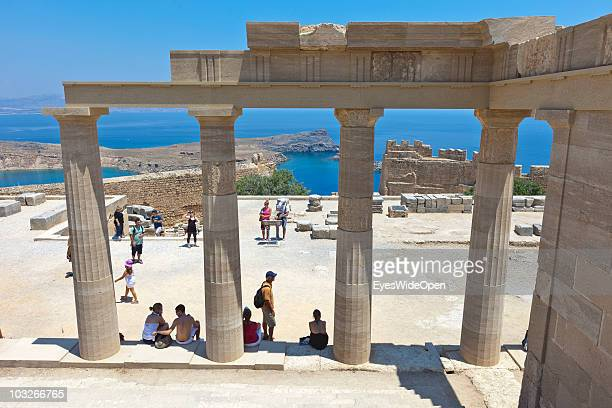 The Acropolis of Lindos on July 04 2010 in Lindos Greece The old town of Lindos is famous for its class listed monuments and the ancient Acropolis...