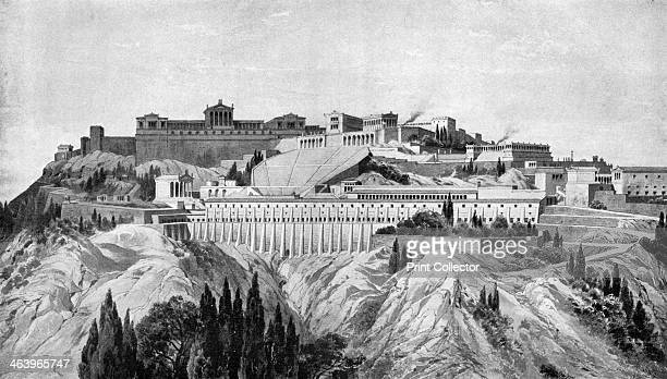 The Acropolis of Pergamon 1902 Reconstruction of the ancient Greek city From left to right Temple of Faustina Temple of Caracalla Traianeum theatre...