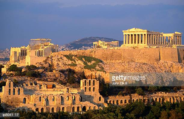 The Acropolis taken from Phiopappos Hill, Low angle view, Athens, Greece