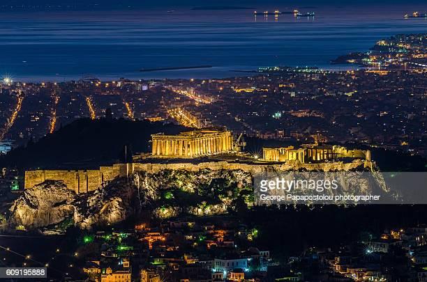The Acropolis with Parthenon of Athens at night