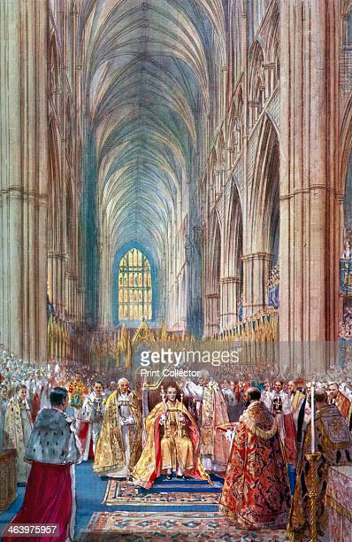 'The Act of Crowning' George VI's coronation ceremony Westminster Abbey London 12 May 1937 A coloured plate from the Illustrated London News...