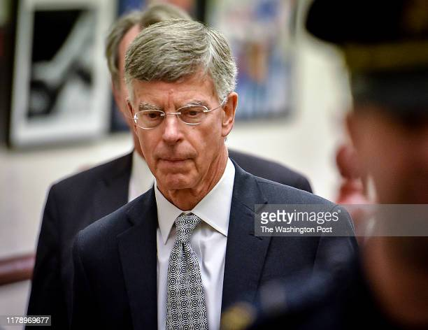 The acting Ambassador to Ukraine William B Taylor Jr departs after meeting with the House Intelligence committee for their impeachment inquiry in...