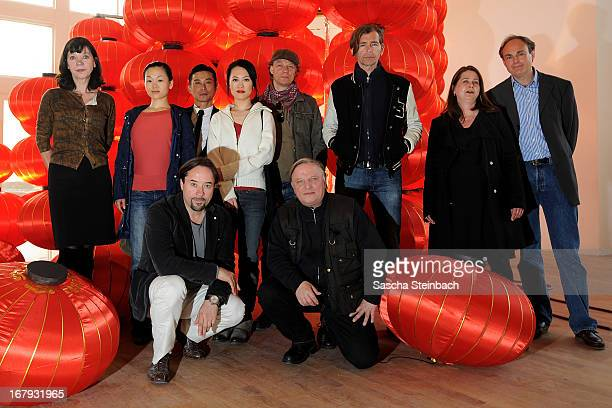 The acting ensemble with Jan Josef Liefers Axel Prahl and Hui Chi Chiu pose during a photocall on set of the WDR Tatort 'Die chinesische Prinzessin'...