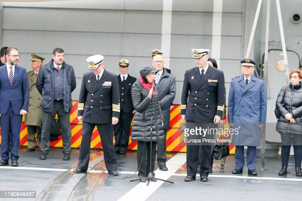 """The acting minister of Defence Margarita Robles speaks to the press after receiving the crewmembers of the frigate """"Mendez Nuñez"""" after more than..."""