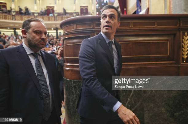 The acting minister of Development Jose Luis Abalos and the acting president of the Government Pedro Sanchez leave the Chamber of Congress after...