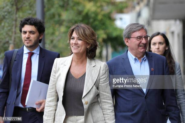 The acting minister of Justice Dolores Delgado and the Historical Memory Executive of the CEF Fernando Martínez are seen arriving to a meeting with...