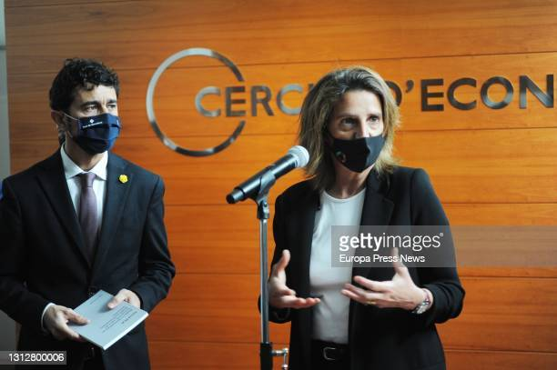 The acting Minister of Territory and Sustainability of the Generalitat de Catalunya, Damià Calvet and the fourth vice-president and Minister for...