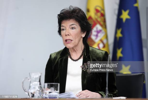 The acting minister spokeswoman and acting minister for Education and Vocational Training Isabel Celaa during a press conference following the...