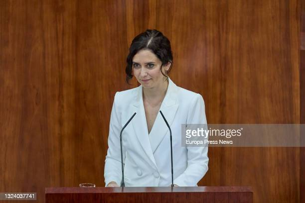 The acting president of the Community of Madrid, Isabel Diaz Ayuso, defends her candidacy during the first session of the plenary session of his...