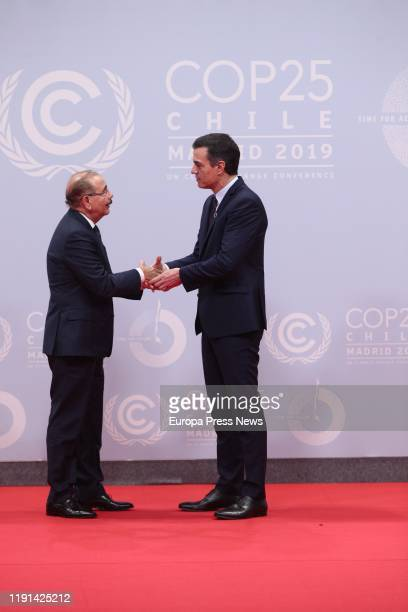 The acting president of the Government of Spain Pedro Sanchez greets the president of Dominican Republic Danilo Medina during the first day of the...