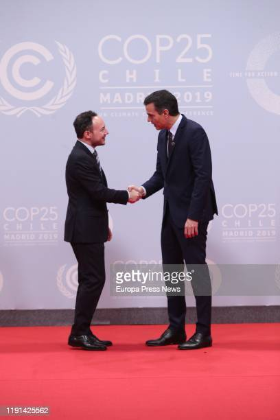 The acting president of the Government of Spain Pedro Sanchez greets the chief minister of Andorra Danilo Medina during the first day of the United...
