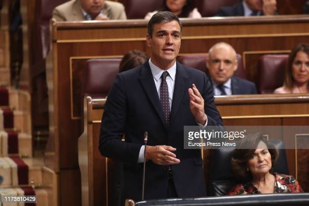 The acting president of the Government Pedro Sánchez is seen answering the questions of the president of PP Pablo Casado during the Plenary Session...