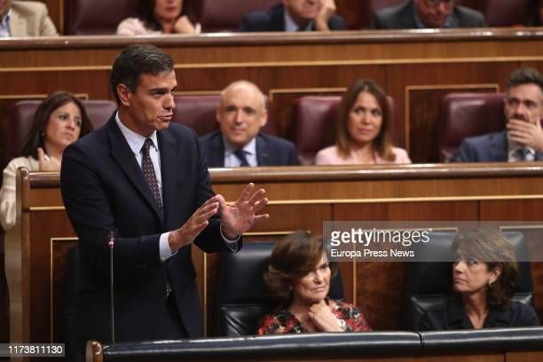 The acting president of the Government Pedro Sánchez is seen answering the questions of the president of Ciudadanos Albert Rivera during the Plenary...