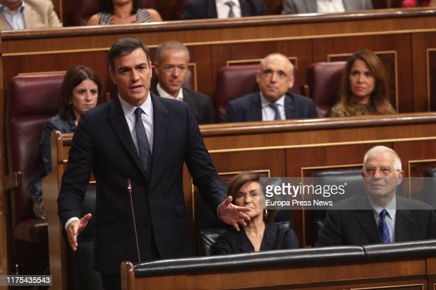The acting president of the Government Pedro Sánchez is seen delivering his speech during the control session to the acting Government at the...