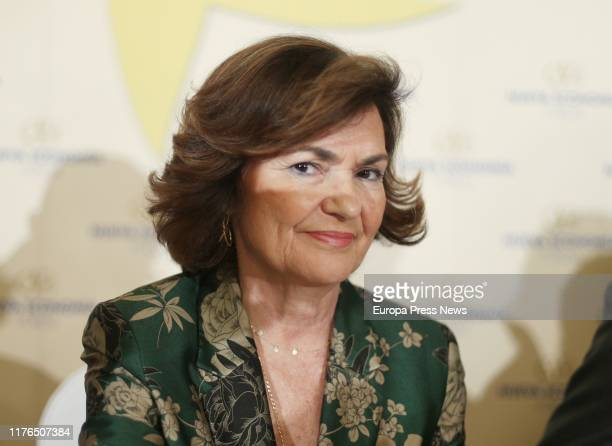 The acting vice president of the Government Carmen Calvo is seen during the breakfast of New Economy Forum on September 23 2019 in Madrid Spain