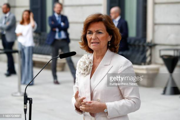 The acting vice president of the Government Carmen Calvo is seen talking to the press after the second debate session on the investiture of the...
