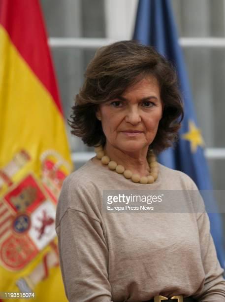 The acting vice president of the Government Carmen Calvo speaks during The XV Awards Ceremony Plaza de España on December 12 2019 in Sevilla Spain