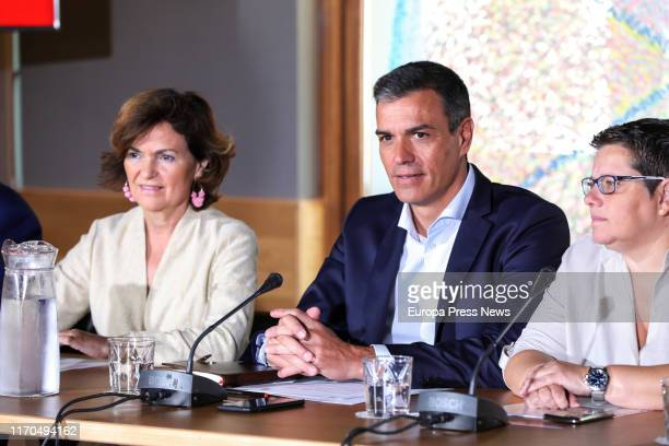 The acting vice president of the Government Carmen Calvo the acting president of the Government Pedro Sánchez and the federal delegate LGTBI of PSOE...