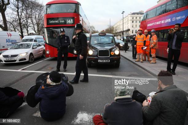 The activist group Stop Killing Londoners disrupt the traffic in Marble Arch Central London United Kingdom 29th of Janyary2018 The group stopped the...