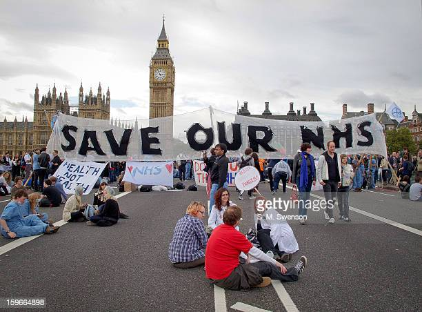 The activist group UK Uncut and supporters of the National Health Service blocking the Westminster Bridge. They were there in protest of a pending...