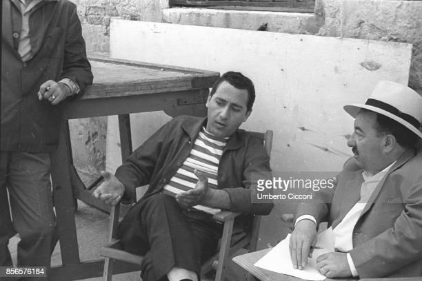 The actor Alberto Sordi talking during the movie 'Venezia la luna e tu' directed by Dino Risi in 1958