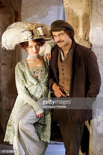 The actor Alessandro Preziosi and the actress Violante Placido posing on the set of the TV miniseries Il furto della Gioconda Saluzzo Italy 20th May...