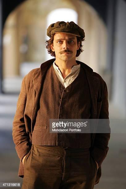 The actor Alessandro Preziosi posing on the set of the TV miniseries Il furto della Gioconda Saluzzo Italy 20th May 2005