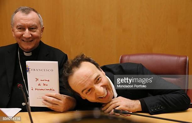The actor and director Roberto Benigni and the Secretary of Vatican State Pietro Parolin attending the presentation of the book Il nome di Dio è...