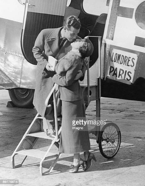 The actor and singer Ramon Novarro kisses his sister goodbye at the London Airport of Croydan Photograph 29th of August 1935