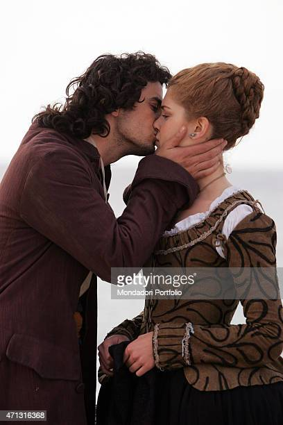 The actor Antonio Cupo and the actress Vittoria Belvedere posing for a photo shooting on the set of second season of the TV miniseries Elisa di...