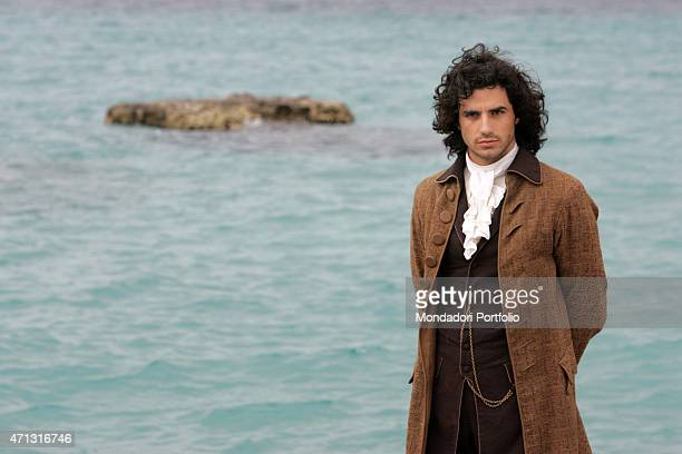 The actor Antonio Cupo posing for a photo shooting on the set of second season of the TV miniseries Elisa di Rivombrosa Otranto Italy 13th May 2005