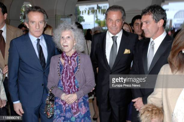 The actor Arturo Fernández is seen during the gala of Cofrade Awards in 2012 accompanied by the husband of Duquesa de Alba Alfonso Díez Carabantes...