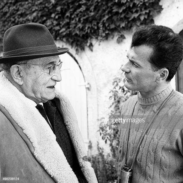 The actor Charles Vanel and the director Maurice CAZENEUVE on the shooting of the television film 'The separation'