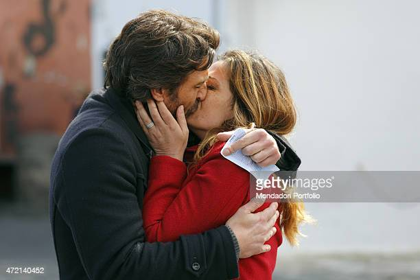 The actor Daniele Liotti and the actress Vanessa Incontrada kissing each other on the set of the TV miniseries Un'altra vita Ponza Island Italy 1st...