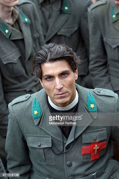 The actor Daniele Liotti being photo shooted while playing Don Carlo Gnocchi in the TV miniseries Don Gnocchi L'angelo dei bimbi Sofia Bulgaria 14th...